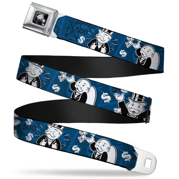 Mr. Monopoly Thumbs Up Pose Full Color Black Grays Monopoly Mr. Monopoly Seatbelt Belt