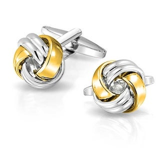 Bling Jewelry Two Tone Stainless Steel plated Gold Plated Mens High Polished Love Knot Cufflinks