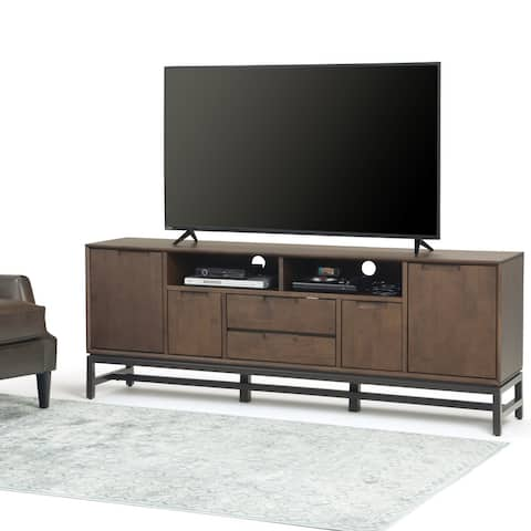 WYNDENHALL Devlin SOLID HARDWOOD 72 inch Wide Industrial TV Media Stand in Walnut Brown For TVs up to 80 inches
