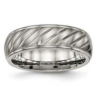 Titanium Brushed and Polished Grooved Ring (7 mm)