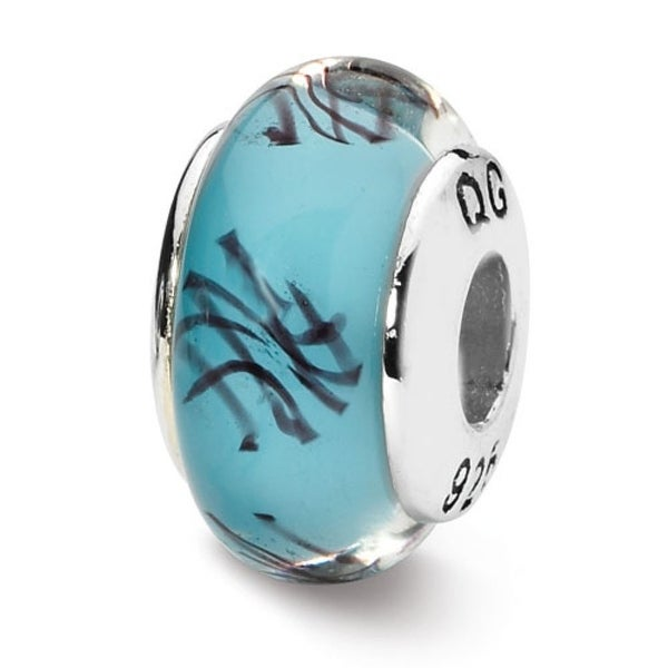 Sterling Silver Reflections Blue/Black Scribble Hand-blown Glass Bead (4mm Diameter Hole)