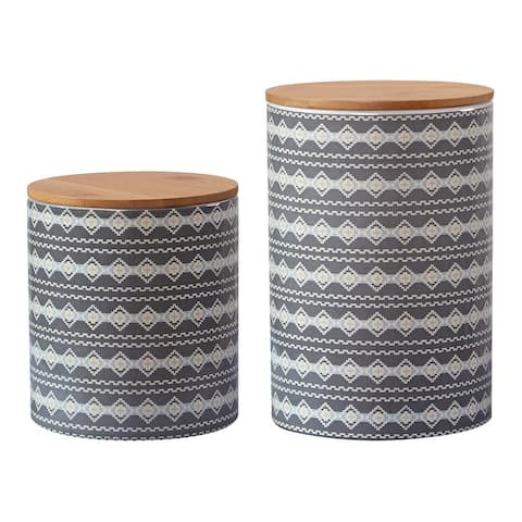 HiEnd Accents 2 PC Large Aztec Design Canister Set - N/A