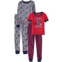 Only Boys 4-7 Sports 4 Piece Cotton Pajama Set - Red