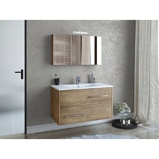 "Link to 36"" Natural Wood Floating Vanity with Integrated Porcelain Sink Similar Items in Bathroom Vanities"