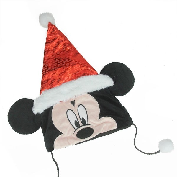 "16"" Disney Mickey Mouse Plush Christmas Santa Hat with White Faux Fur Trim and Hanging Pompoms - RED"