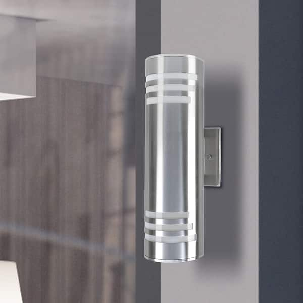 2 Light Outdoor Wall Sconce Cylinder Sleek Up Down Light Outdoor Armed Sconce Overstock 31631327