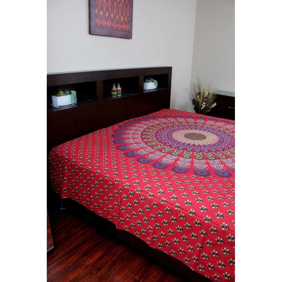 Handmade Sanganer Mandala Peacock 100% Cotton Tapestry Tablecloth Bedspread in Red Blue & Green colors in Twin & Full sizes - Thumbnail 14