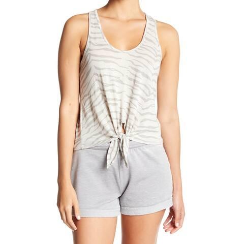 Alternative Gray Womens Size Medium M Printed Tie-Front Tank Top