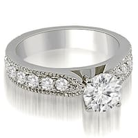 1.90 cttw. 14K White Gold Antique Style Milgrain Round Diamond Engagement Ring