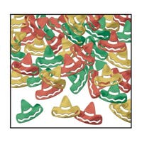 Club Pack of 12 Red, Green and Gold Fanci-Fetti Fiesta Sombrero Celebration Confetti Bags 1 oz.