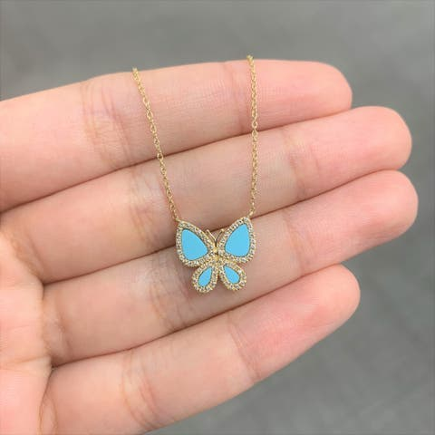 Butterfly Necklace Turquoise & Diamond 14K Yellow Gold by Joelle Collection