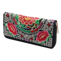 Travel Embroidered Flower Design Zipper Closure Wallet Purse Card Coin Holder