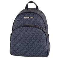 "Michael Kors Admiral Blue Coated Canvas Signature Abbey Backpack Bag - 12"" X 9"" X 4.55"""