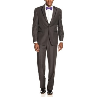 Sean John 2 pc Tuxedo Suit 42 Regular Dark Grey Flat Front Pants 36 Waist