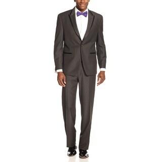 Sean John Dark Grey Paisley Tonal Tuxedo 48 Regular Flat Front Pants 43 Waist