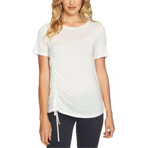 1.State Womens Cinched Asymmetrical-Hem Basic T-Shirt