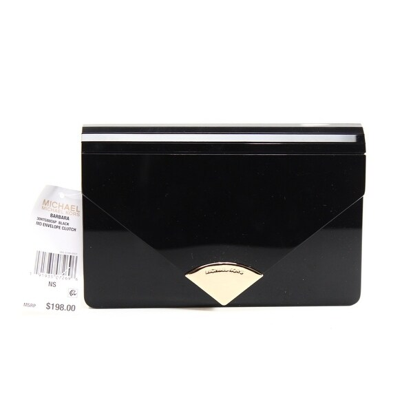 322feaa1d16c Shop Michael Kors NEW Black Vinyl Barbara Envelope Clutch Crossbody ...
