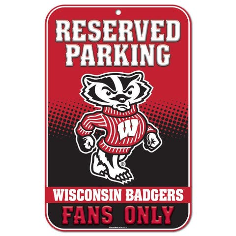 "Wisconsin Badgers Reserved Parking 11"" x 17"" Plastic Sign"