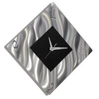 "Statements2000 Black/Silver Modern Metal Wall Clock Art by Jon Allen - Prediction Clock - 17"" x 17"""