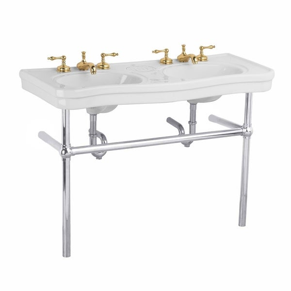Shop double deluxe white bathroom console sink with metal - Bathroom console sink metal legs ...