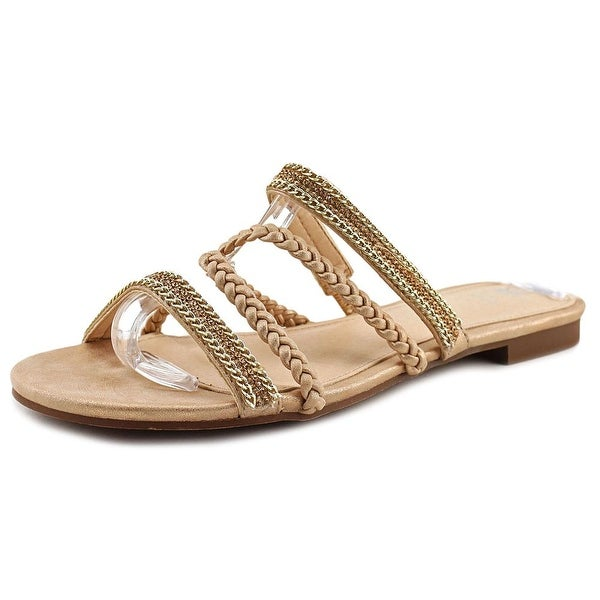 GC Shoes Glitzy Women Open Toe Synthetic Gold Slides Sandal
