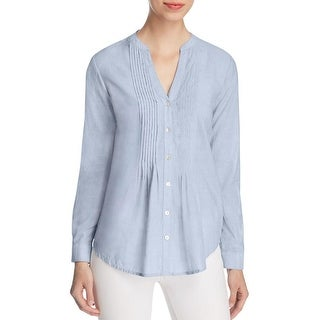 Beach Lunch Lounge Womens Button-Down Top Pleated Long Sleeves
