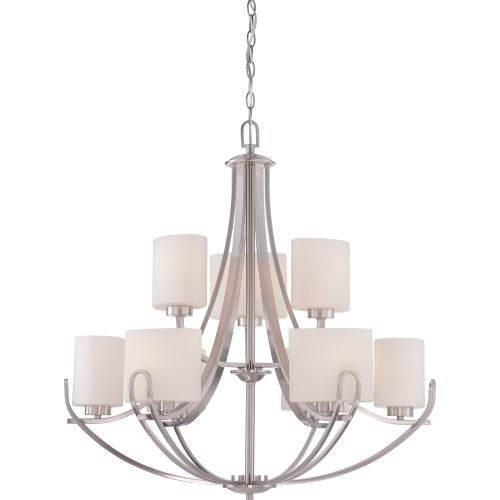 Nuvo Lighting 60/5299 Lola 9 Light 2 Tier Chandelier in Brushed Nickel