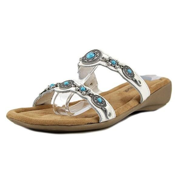 Minnetonka Ratan Slide Women W Open Toe Canvas White Wedge Sandal