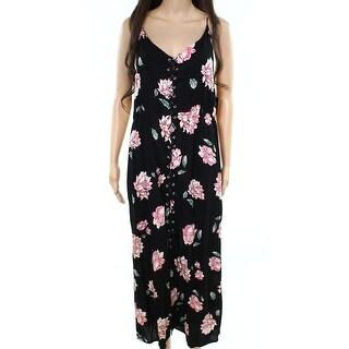 Intu NEW Black Pink Womens Size Medium M Floral Lace-Up Maxi Dress