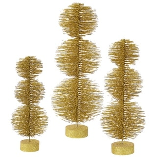 "20""-24""-28""  Gold Glitter Topiary Set"