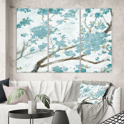 Designart 'Teal Cherry Blossoms I' Traditional Floral Canvas Artwork