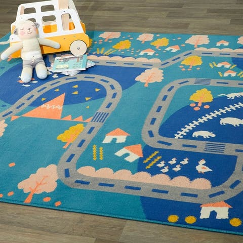 Mod-Tod Rural Roadway Kids Area Rug