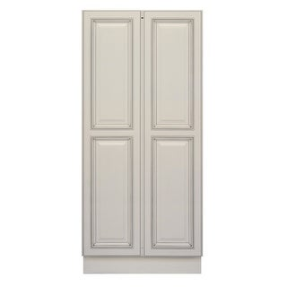 "Sunny Wood SLP2454B-A  Sanibel 24"" Wide x 54"" High Double Door Pantry Cabinet - Off White with Charcoal Glaze"