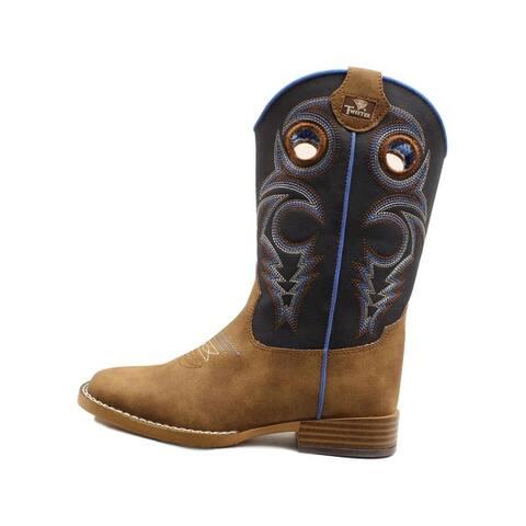 Twister Western Boots Boys Ben Zipper TPR Outsole Navy Brown - Navy Brown