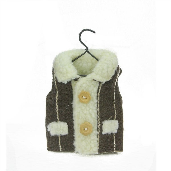 "5.25"" Country Cabin Brown Striped Winter Vest on Hanger Christmas Ornament"