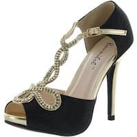 Bonnibel Womens Tiara-2 Stiletto Heel Glitter Evening Wedding Promo Sandals Shoes