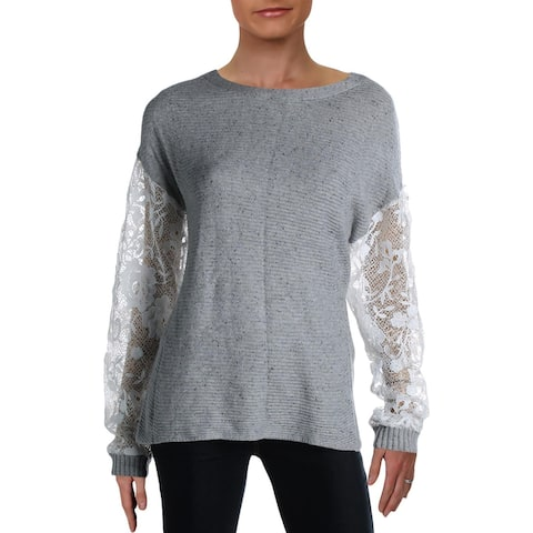 Willow & Clay Womens Sweater Lace Sleeves Marled - Heather Grey
