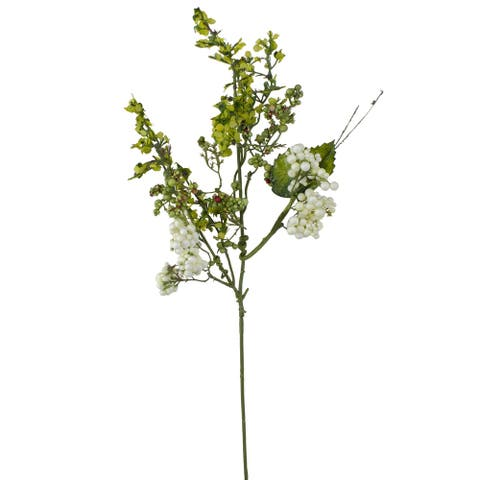 """14"""" White and Green Ivory Berry Artificial Spring Pick"""