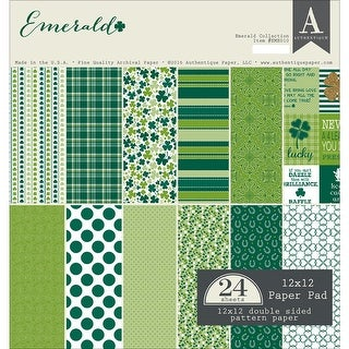 "Authentique Double-Sided Cardstock Pad 12""X12"" 24/Pkg-Emerald, 6 Designs/4 Each"