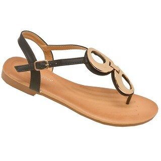 Adult Black Metallic Detail Thong Strap Flip Flop Trendy Sandals