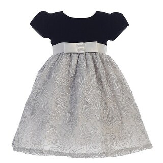 Girls Black Silver Glitter Velvet Corded Tulle Occasion Dress 7-10