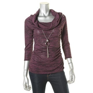 BCX Womens Juniors Marled Cowl Neck Pullover Sweater