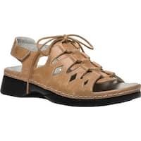 Propet Women's Ghillie Walker Slingback Sandal Tan Full Grain Leather