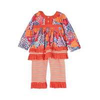 Isobella & Chloe Little Girls Orange Striped Ruffles 2 Pcs Outfit