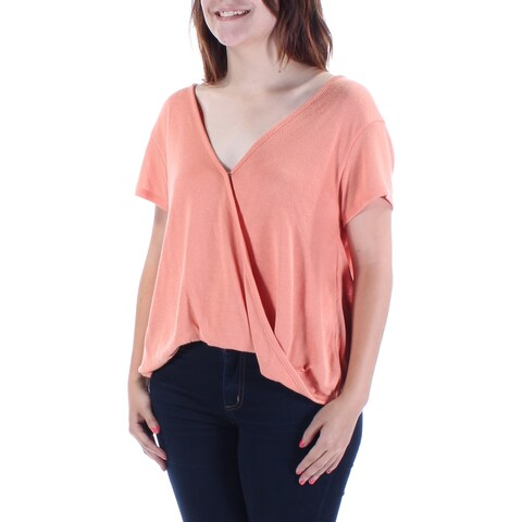 Womens Coral Sleeveless V Neck Casual Faux Wrap Sweater Size S