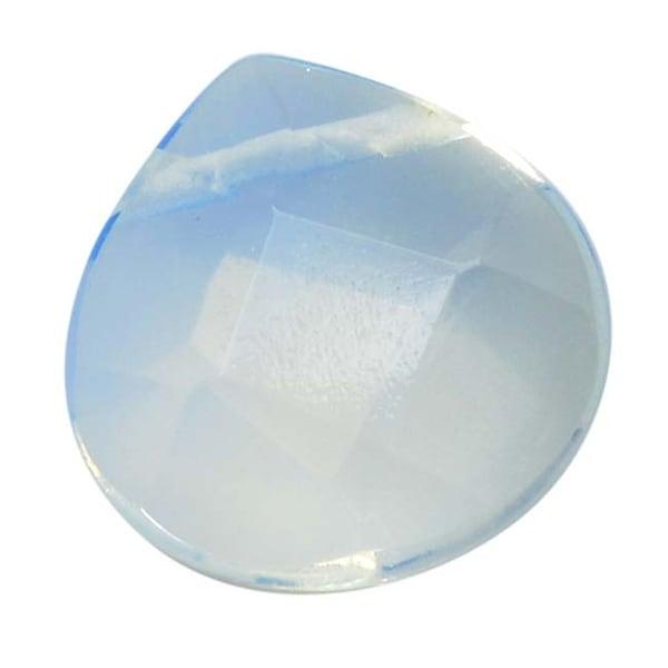 Glass Faceted Heart Cut Briolette Beads 13x13mm - Opalite (4)