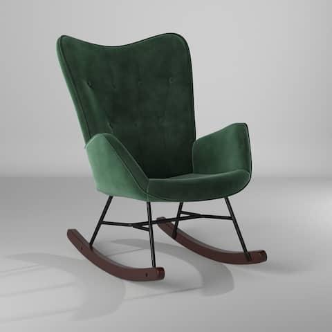 Carson Carrington Mid-century Modern Velvet Rocker Accent Chair