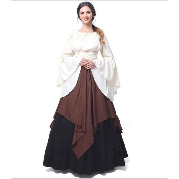Women Medieval Renaissance Dress Long Sleeve Gothic Party Halloween Costume NEW