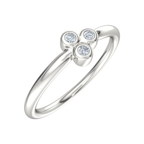Three Bezel Ring with Charles & Colvard Created Forever One Moissanites in Sterling Silver - White