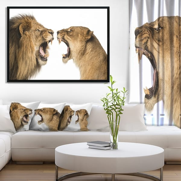 Designart Lion And Lioness Roaring Abstract Framed Canvas Art Print Overstock 18945601